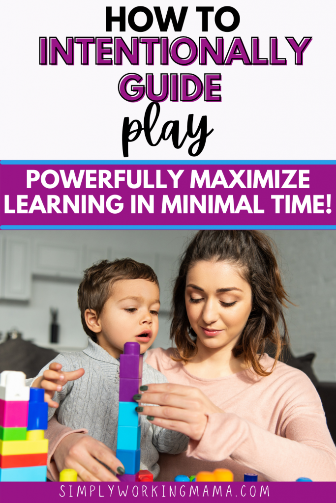 cute boy and his mother doing an intentional play session with colorful blocks