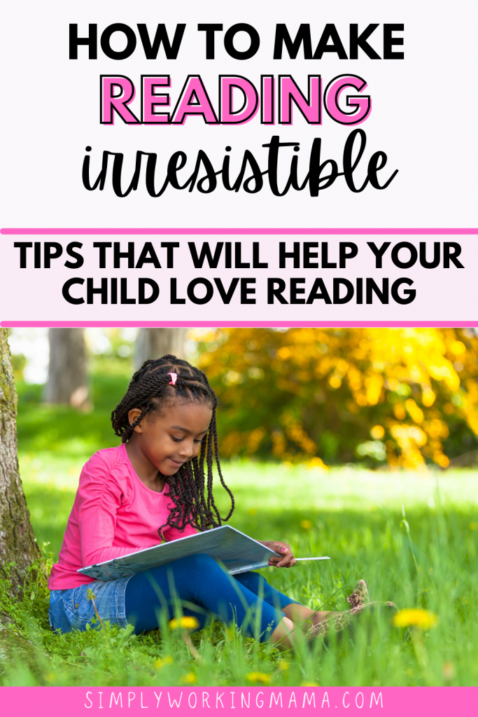 Young girl sitting in the grass and reading to boost her print motivation.